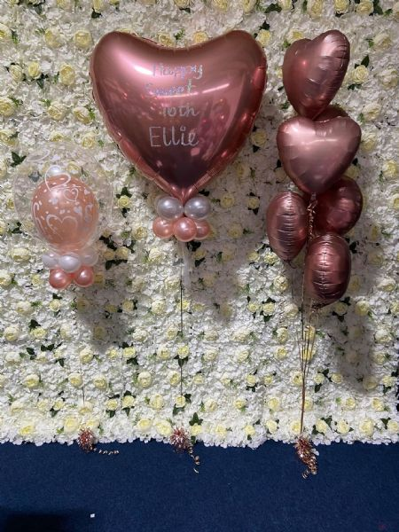 Rose Gold Heart Balloon Set